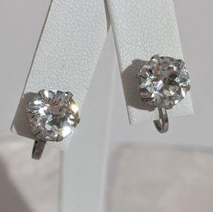 Vintage Silver Rhinestone Screw Back Stud Earrings